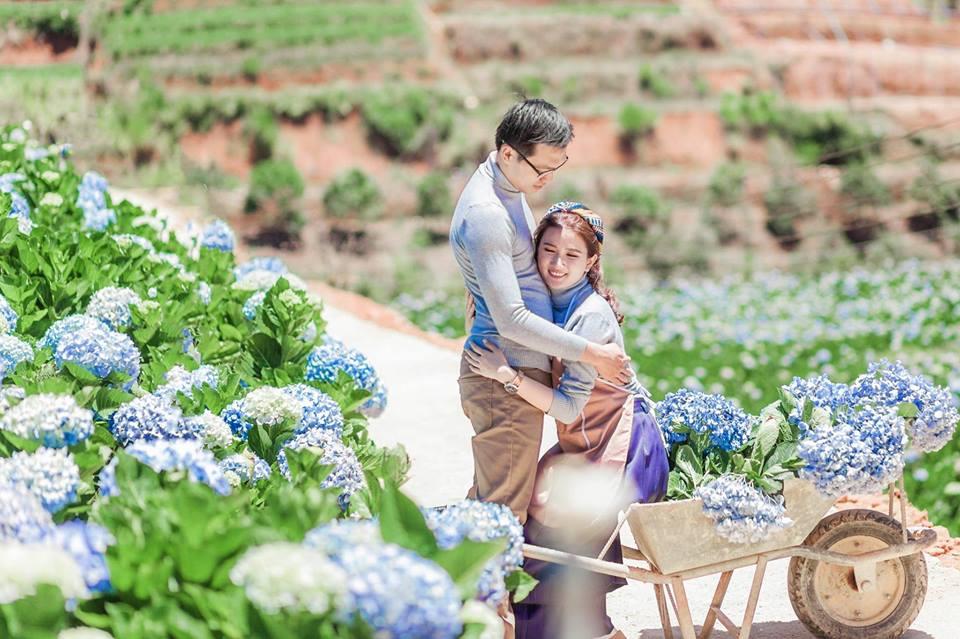 những bộ ảnh cưới lung linh vào mùa hoa cẩm tú cầu