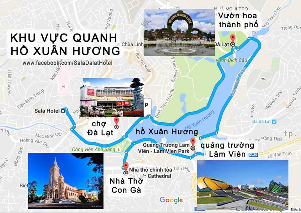 Hồ Xuân Hương Đà lạt nằm trên google map